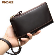 PNDME simple high quality cowhide men's women clutch wallet casual vintage genuine leather multi-card zipper ID holder purse