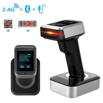 1D/2D Handheld 2.4G Wireless Bluetooth USB Chargeable Bar code Scanner with Display Screen and 16MB Storage Memory - discount item  30% OFF Office Electronics
