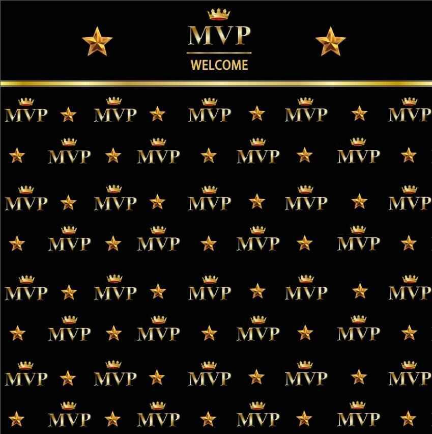 10x10FT Estrelas de Ouro Coroa MVP Bem-vindo Festa de Recepção Personalizado Estúdio de Fotografia Backdrop Vinil 300cm x 300cm