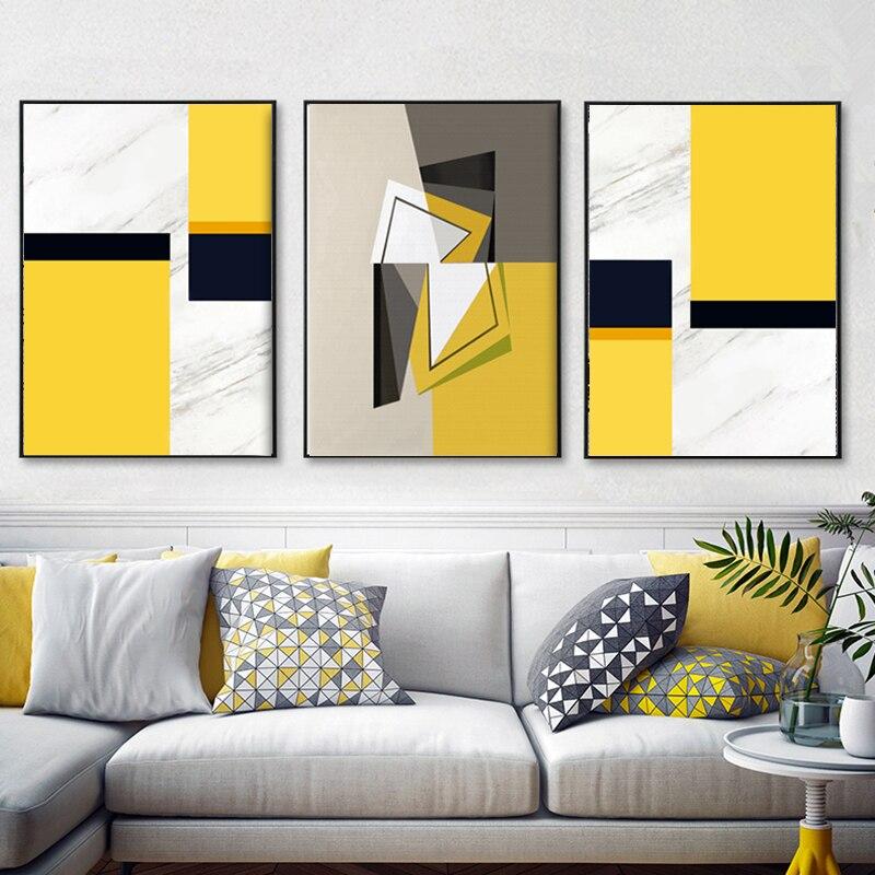 3 plošče Sodobna stenska umetnost Abstraktne akvarele odtise Rumena - Dekor za dom - Fotografija 4