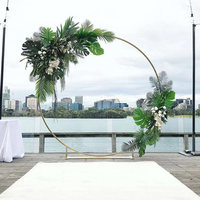 Wedding Artificial flower arch party event round backdrop metal iron ring arch stand baby shower flowers circle arch decor