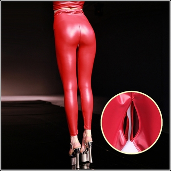 Sexy Red Latex PU Faux Leather Skinny Pants Open Crotch Leggings Women High Waist Invisible Zipper Black Custom Slim Trousers цена 2017