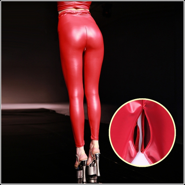 Sexy Red Latex PU Faux Leather Skinny Pants Open Crotch Leggings Women High Waist Invisible Zipper Black Custom Slim Trousers