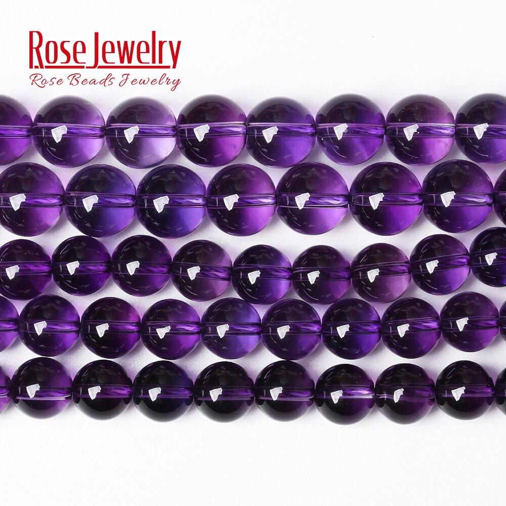 """Pierres naturelles en Quartz cristal améthyste clair, violet, perles rondes en vrac, 15 """", 4, 6, 8, 10 et 12MM, pour la fabrication de bracelets et bijoux"""