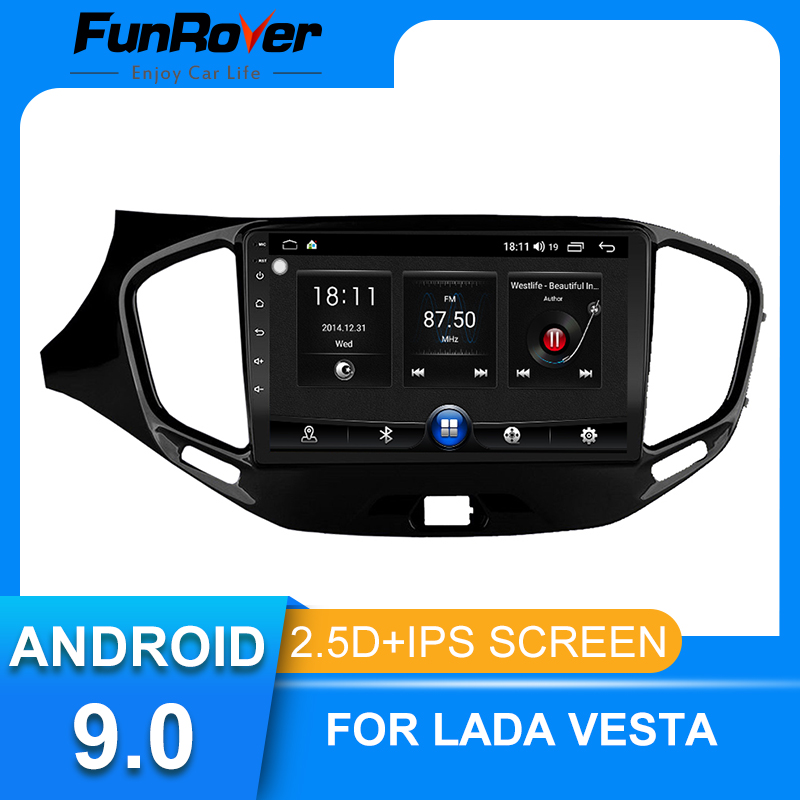 Funrover 2 Din 2.5D+IPS Android 9.0 car dvd for For LADA Vesta Cross Sport 2 2015-2019 Car Radio Multimedia stereo gps FM no dvd image