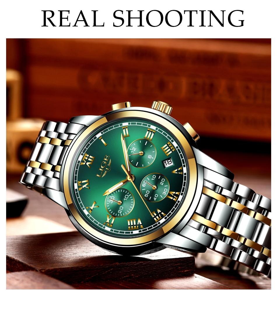 H94a577578e1e4c5580661cee2fbf45784 Watches Mens 2019 LIGE Top Brand Luxury Green Fashion Chronograph Male Sport Waterproof All Steel Quartz Clock Relogio Masculino