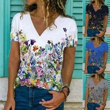 Summer Women V-neck Slim Short Sleeve Tops Temperament Commuter Floral Print Pullover All-match Lady T Shirt