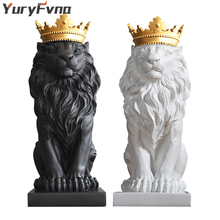YuryFvna Abstract Resin Black White Crown Lion Sculpture Statue Crafts Home Office Decoration Geometric Animal Lion Statue Craft