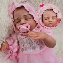 45cm Bebe Reborn girl Five-star boutique doll all Silicone Baby Doll Lifelike Hand drawn hair Boneca Toy Birthday Gift