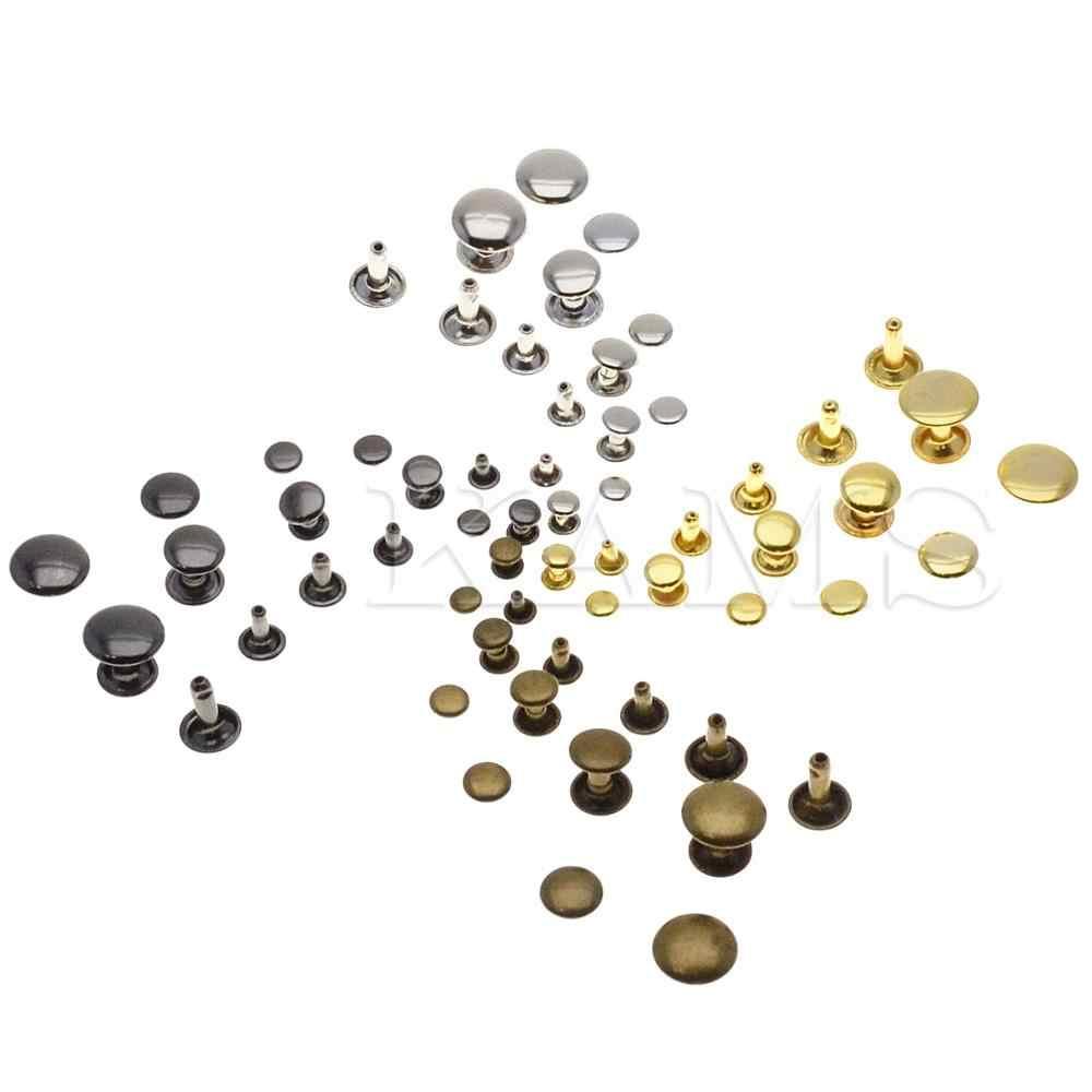 100 adet/takım Metal çift kap perçin damızlık hızlı perçin çarpışma tırnak Metal başak deri el sanatları tamir 4 renk