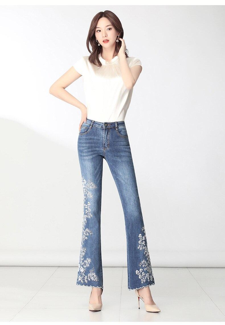KSTUN FERZIGE Women Jeans High Waist Embroidered Floral Beads Desinger Bell Bottom Stretch Flared Pants Women's Clothes Big Size 36 13