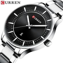 лучшая цена CURREN Men Watch Black Slim Dial Waterproof Date Clock Sports Watches Quartz Casual Stainless Steel Wristwatch Relogio Masculino