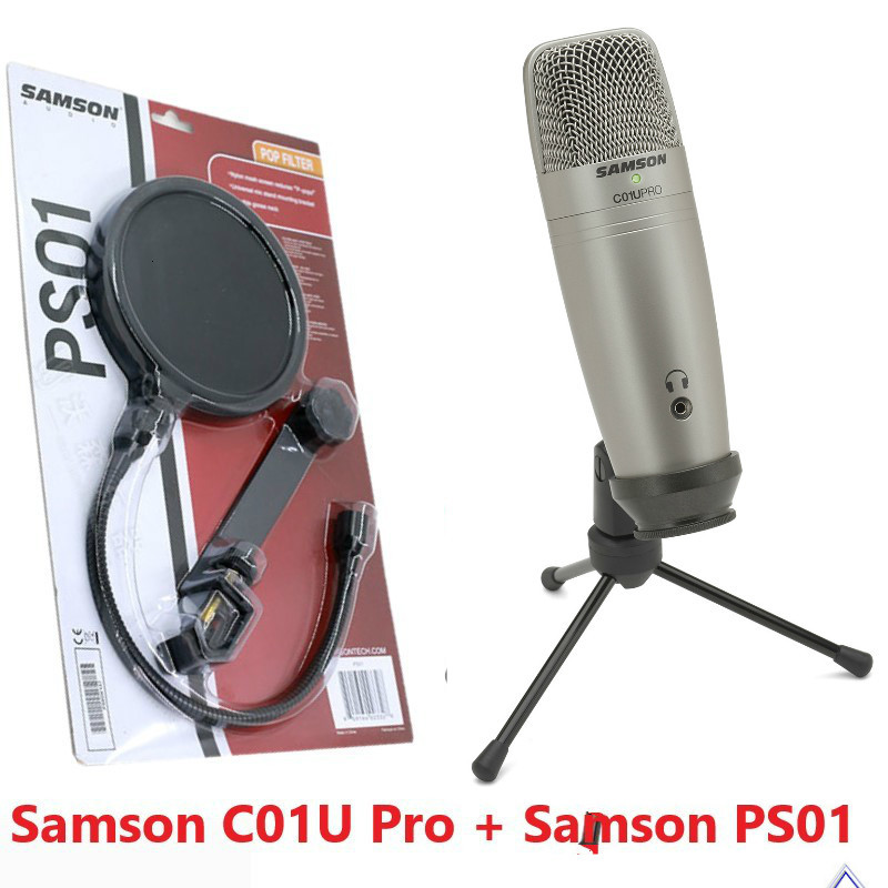 Usb Studio Condenser Supercardiod Samson C01u Pro Microphone With Tripod Stand & Ps01 Mic Pop Filter Screen For Reduce Plosives