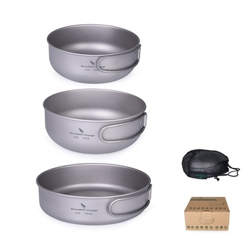 Boundless Voyage Titanium Pot  Pan Bowl Set Outdoor Picnic Cookware Camping Ultralight Cooking Pan with Folding Handle  3 pieces