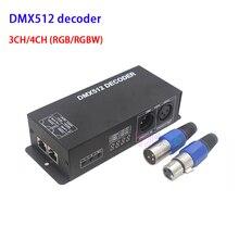DC12V ~ 24V RGB RGBW 3CH 4CH DMX512 decoder mit digital display DMX zu PWM 3CH * 8A 4CH * 4A led streifen dimmer