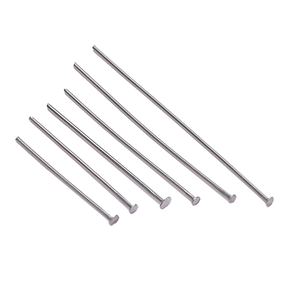 100pcs/Bag 15 25 30 40 45 50 70 Mm Stainless Steel Flat Head Pin Findings Headpins For Jewelry Making DIY Supplies Accessories