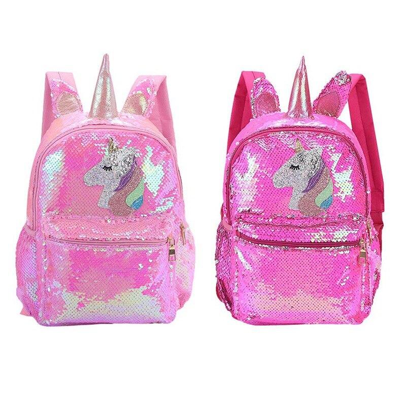 1 PC 3D Unicorn Sequin Backpack Children Cartoon Unicorn Large Capacity School Bag Women Men Double Shoulder Travel Bag Dropship
