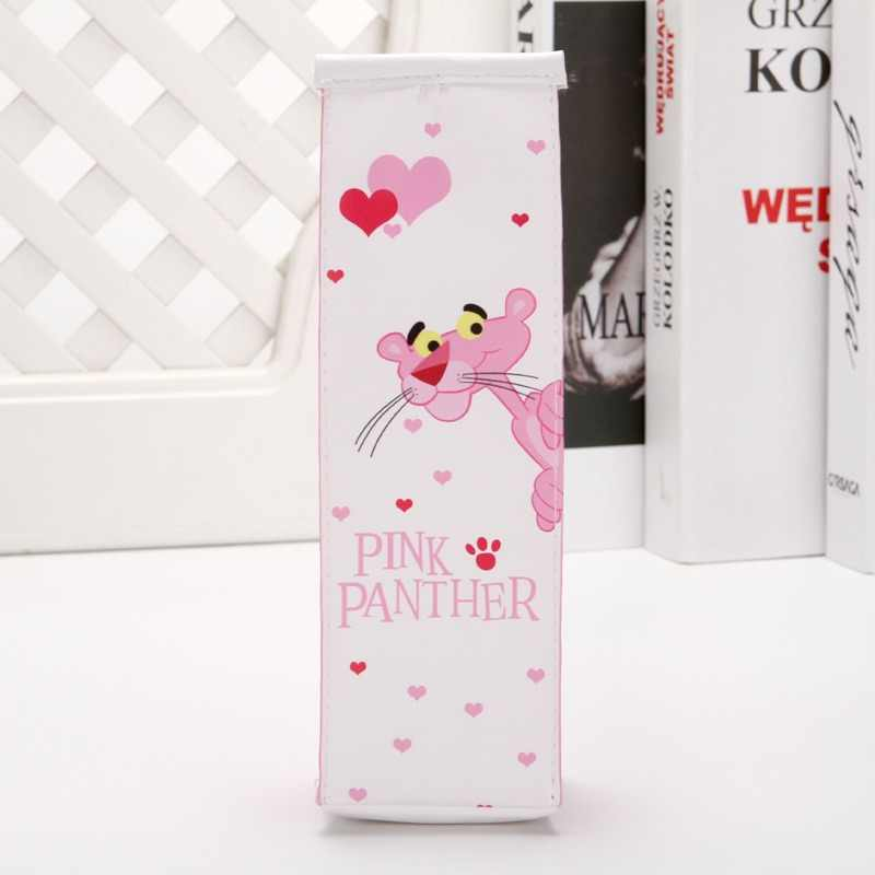 1 sztuk Cartoon różowa pantera butelka mleka piórnik fajne pióro torba Box biurowe etui prezent dla dziewczyn materiał szkolne