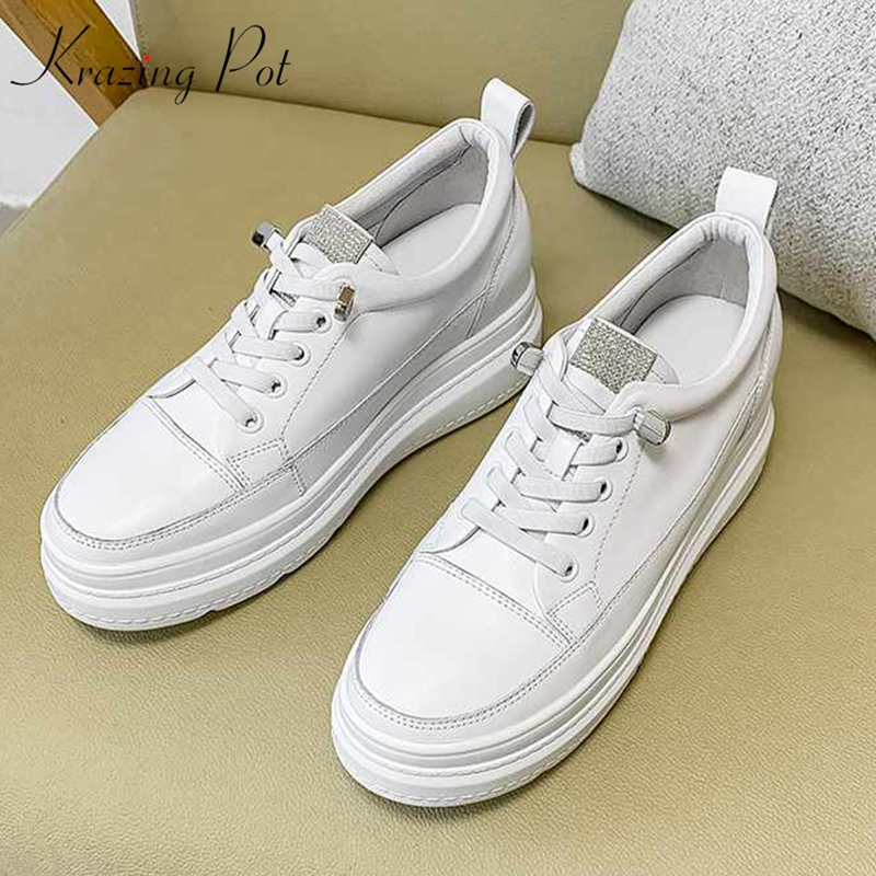 Krazing Pot Breathable Nature Leather White Sneaker Round Toe Thick Bottom Lace Up Fashion Leisure Women Vulcanized Shoes L05