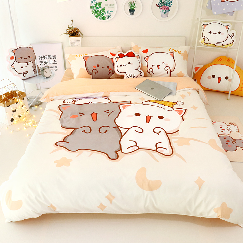 4Pcs Set Kawaii Cat Bed Sheet Cotton Bedding Set Soft Comforter Cover Twin Full Queen Size For Girls Bed Sheets and Pillowcases