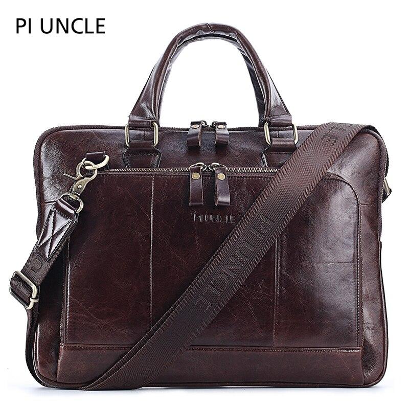 PI UNLE Brand Leather Men's Briefcase Retro Business Computer Bag Fashion Messenger Bag Shoulder Bag Luxury Soft Man Handbag