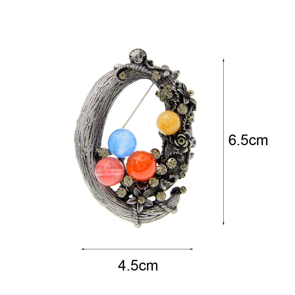 CINDY XIANG Baru Batu Alam Round Geometris Bros untuk Wanita Vintage Bros Pin Retro Fashion Perhiasan Mewah 3 Warna