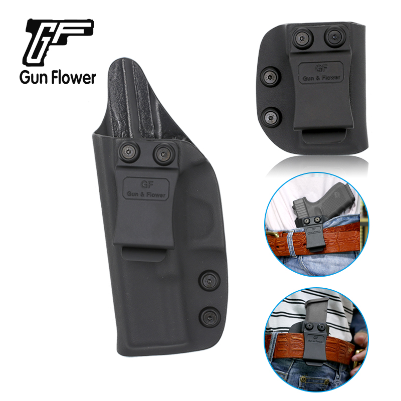 <font><b>Gun</b></font>&Flower IWB Double Stack <font><b>9mm</b></font> Mag Pouch Kydex Holster Case for <font><b>Glock</b></font> 19 Left Hand Hunting Accessories image