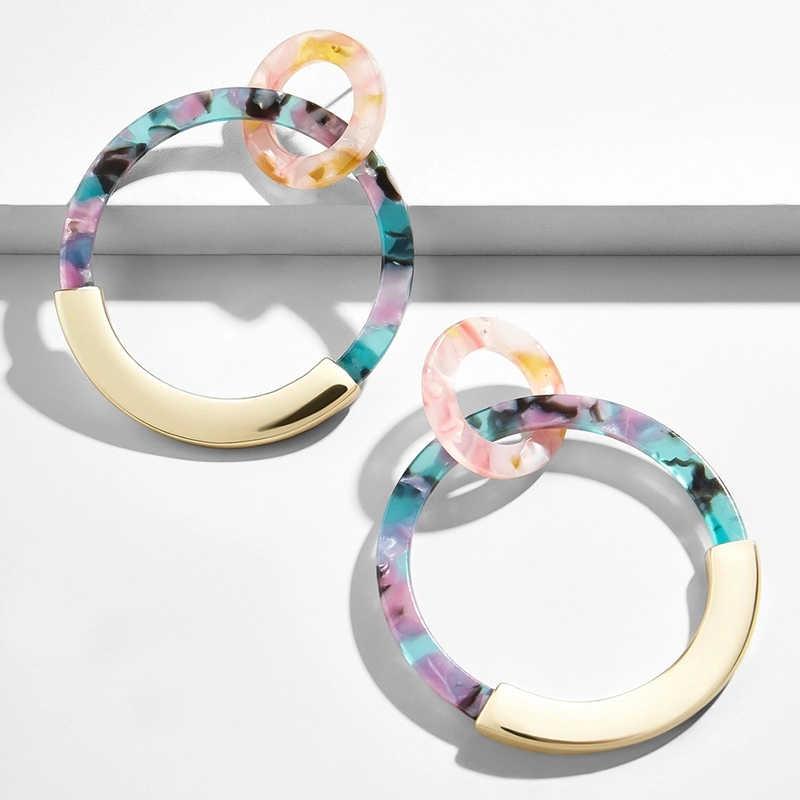 ZA 2019 богемные цветные акриловые серьги-капельки для женщин, Винтажные серьги-подвески из смолы, Женские Ювелирные изделия Brincos