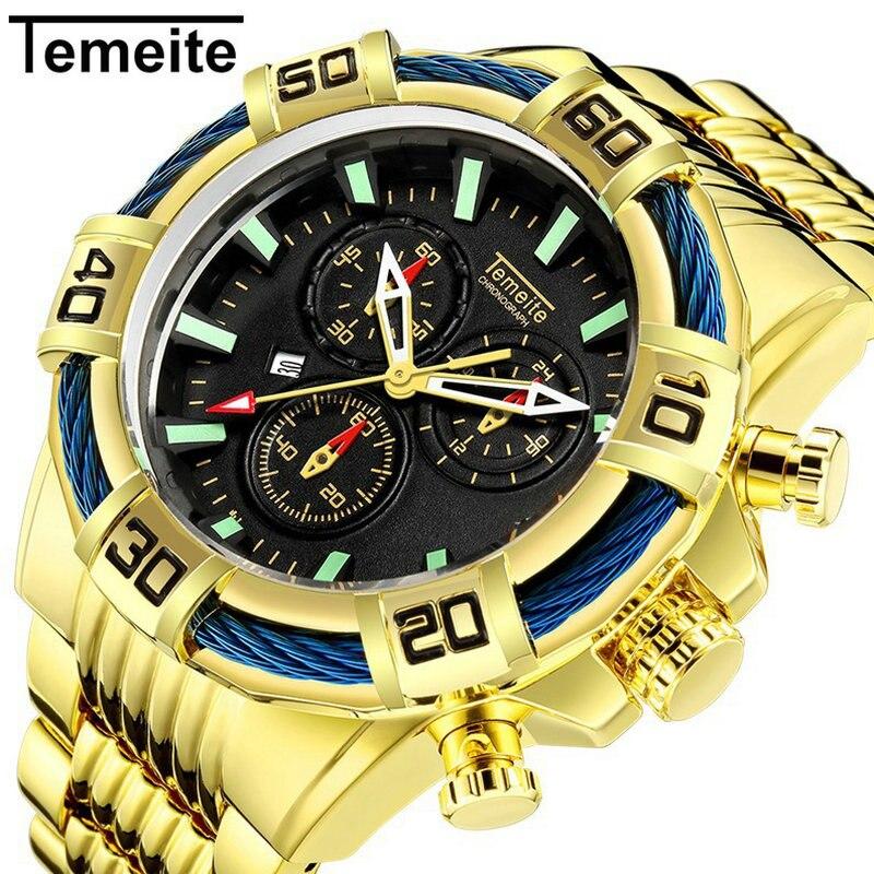 TEMEITE Sports Quartz Watch Men Golden Stainless Steel Strap Auto Date Big Case Military Mens Watches Top Brand Luxury Clock