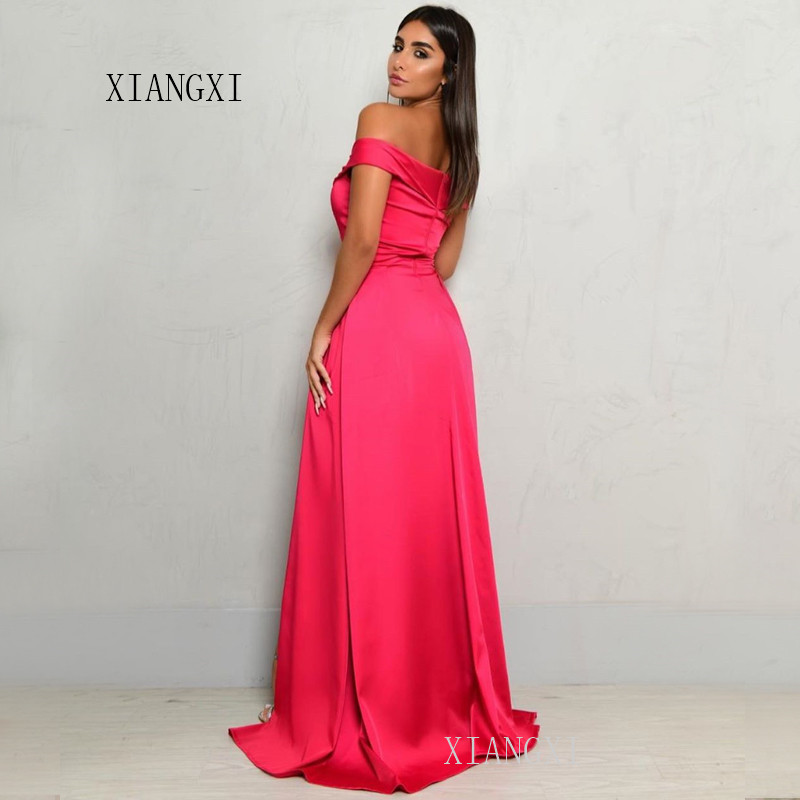 Elegant Long Evening Dresses Satin Off The Shoulder Pleat Formal Party Gowns Evening Dress robe de soiree
