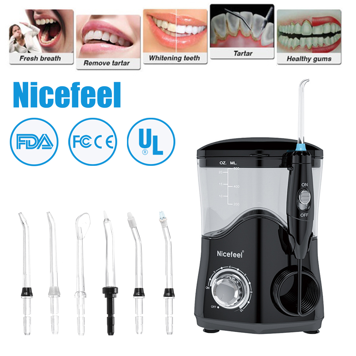 Nicefeel 7 Nozzle Toothbrushing Irrigator Oral Irrigator Dental Water Pulse Tooth Irrigator Water Jet For Brushing Teeth Clean