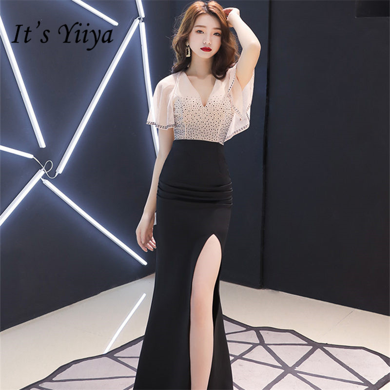 It's Yiiya Evening Dress V-Neck Short Sleeve Mermaid Robe De Soiree Contrast Color Floor-Length Ruffles Women Party Dresses E834