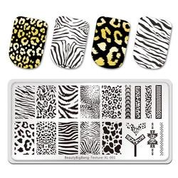 BeautyBigBang Stamping Plates Tiger Zebra Leopard Print Animal Image Stainless Steel Stencil Nail Art Template Texture XL-001