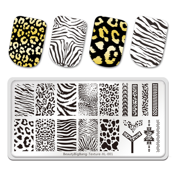 BeautyBigBang Stamping Plates Tiger Zebra Leopard Print Animal Image Stainless Steel Stencil Nail Art Template Texture XL-001 недорого