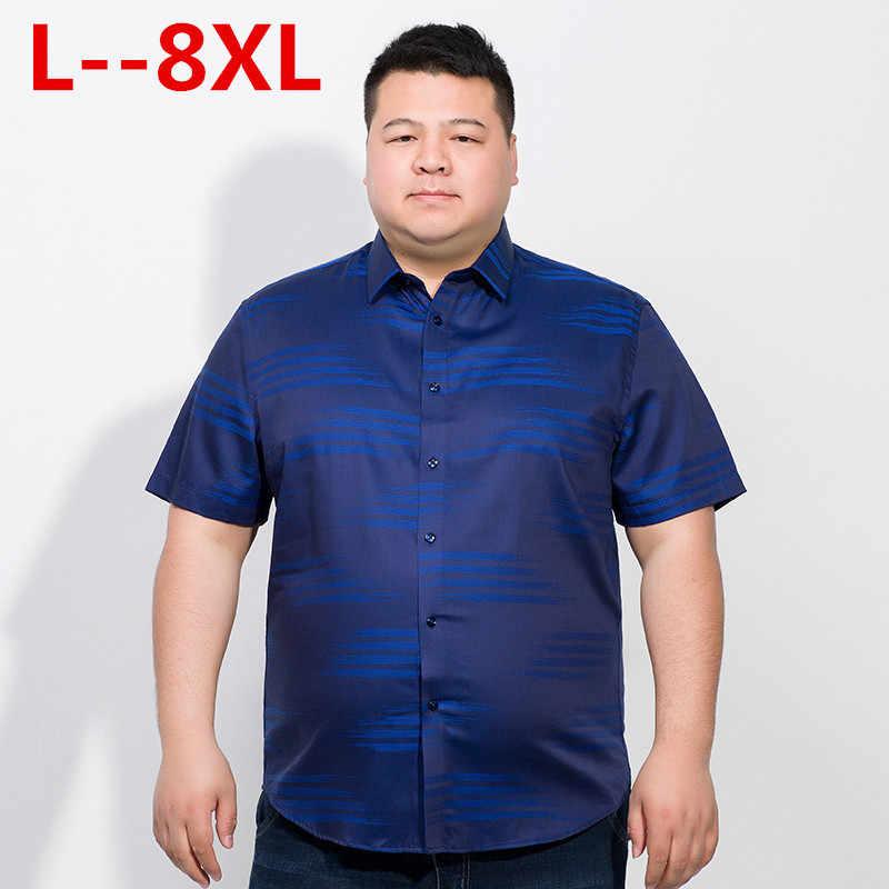 Mais 10xl 8xl 6xl 5xl marca formal camisas de vestido nova moda de alta qualidade algodão manga curta camisa casual masculina solto ajuste design