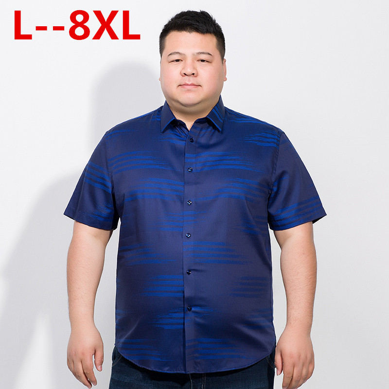 Plus 10XL 8XL 6XL 5XL Brand Formal Dress Shirts New Fashion High Quality Cotton Short Sleeve Casual Shirt Men Loose Fit Design