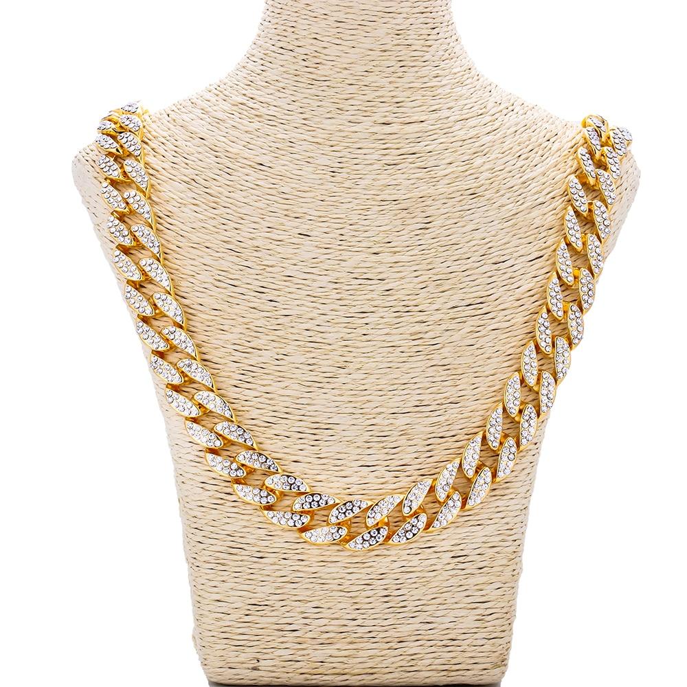 Hip Hop blanc strass acier inoxydable Necklace18/20/24/30 inch Choker mode Miami chaînes cubaines charme Punk bijoux pour hommes