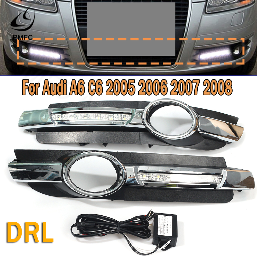 PMFC 1Pair LED DRL Daytime Running Light Fog Lamp Driving Lamp No-error For Audi A6 C6 2005 2006 2007 2008 high quality image