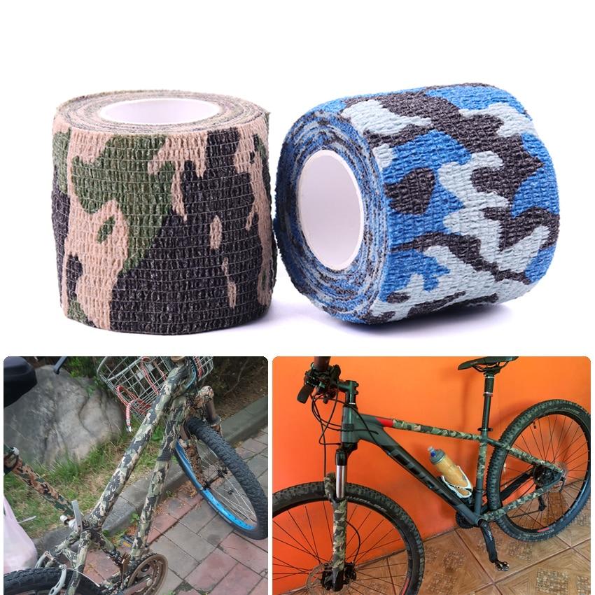 5cmX4.5m élastique auto-Non-tissé vélo autocollants rétractable Camouflage bande pour vélo chasse équitation auto-adhésif