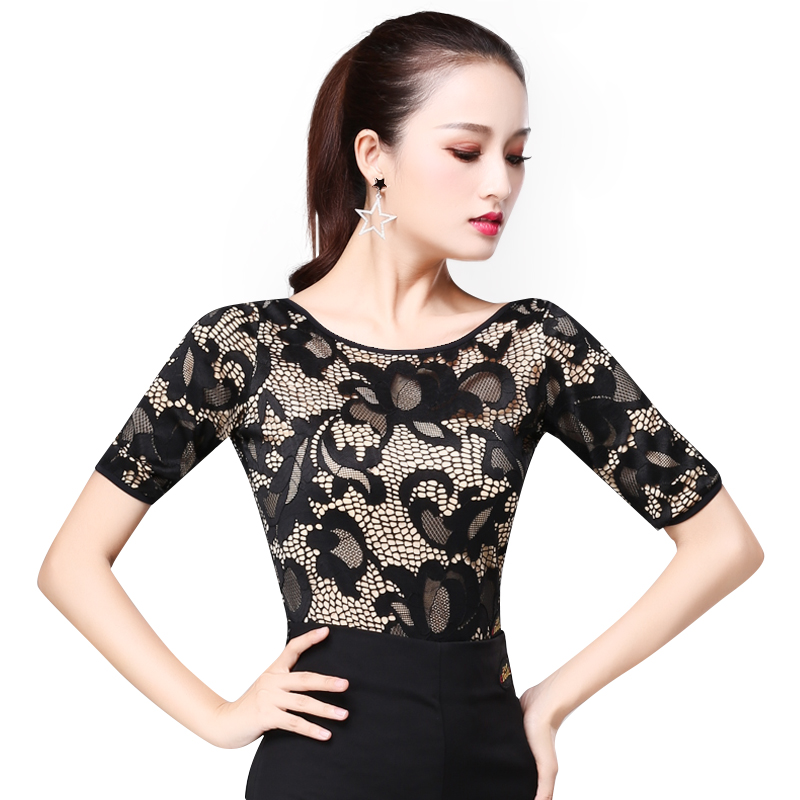 DOUBL Sexy Female UpperClothing Adults Latin Dance Top Modern Half Sleeve Practice Waltz Standard Dance Practise Tops For Women
