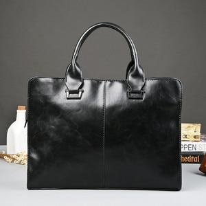 Image 2 - Mens Business office Briefcase Computer Laptop Handbag male Top PU Leather Tote man Large Solid Shoulder bags Black Vintage bag
