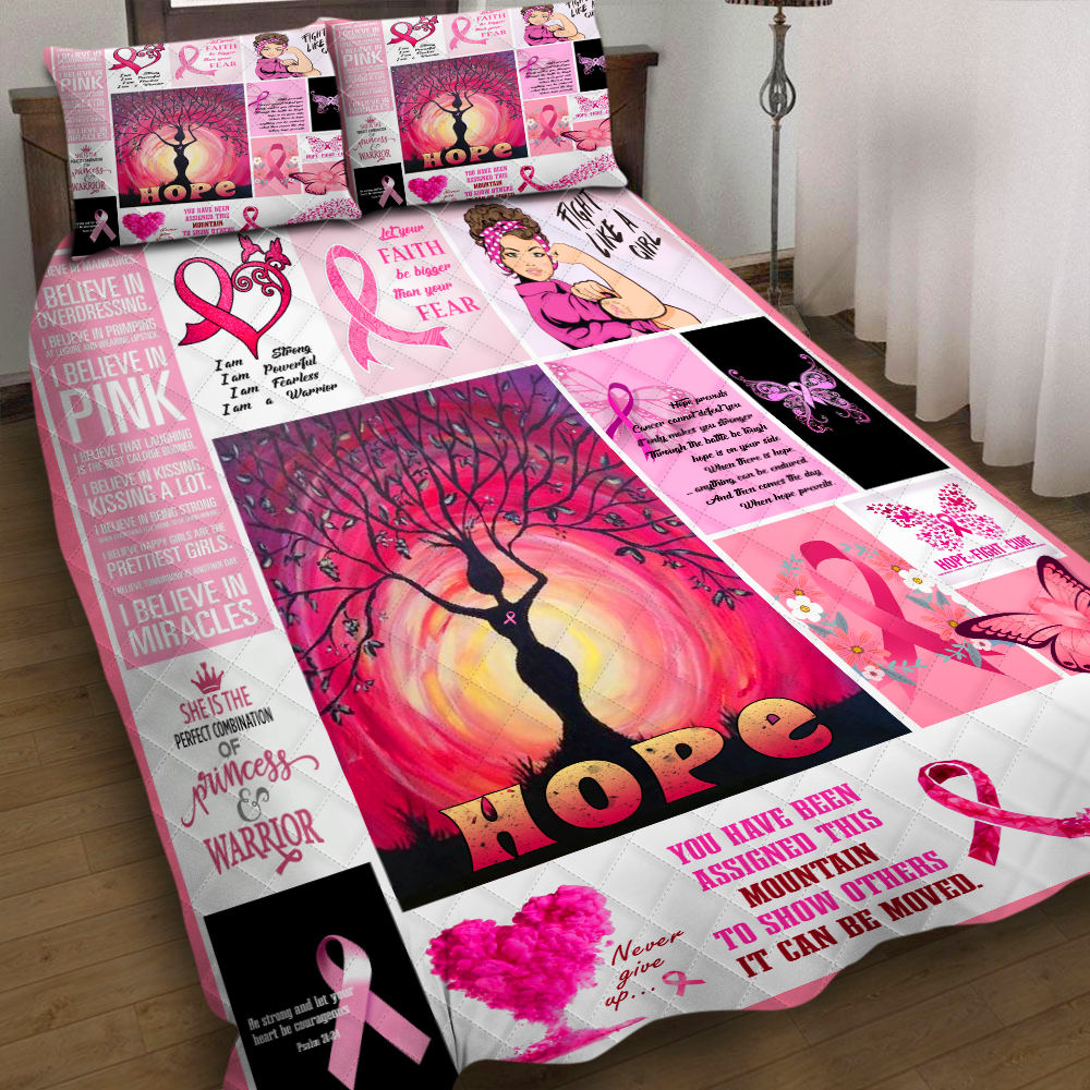 Girl Of Pink Faith And Hope 3pcs Quilt Pillowcase Bedding Set Quilted Duvet Cover Bed Cover Set Home Textiles