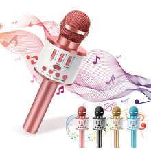 Karaoke Wireless Bluetooth Microphone Handheld Mikrofoon Singing Music Mic Rosegold Portable Player Speaker for Children