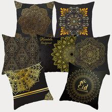 Czarne złota Mandala obicia na poduszki 45 #215 45 poliester dekoracyjny poduszki Sofa Home poduszka dekoracyjna pokrywy poduszki poszewki na poduszki tanie tanio BERINA Drukowane plain Tkane Square Seat Dekoracyjne Krzesło 10346 polyester 45*45