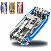 Herramientas para bicicletas juego de reparación de bicicletas 15 en 1 Kit de herramientas de reparación de bicicletas llave destornillador Cadena de acero al carbono bicicleta herramienta multifunción