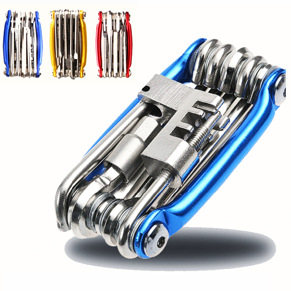 Kit d'outils de réparation de bicyclette, outils de bicyclette Kit d'outils de réparation de bicyclette 15 en 1 tournevis à chaîne en acier au carbone outil multifonctionnel de bicyclette