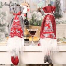 Cute Christmas Wine Bottle Sleeve Santa Claus/Elk/Snowman Christmas Bottle Sleeve Cover Pouch Christmas Decoration Home Decor цена в Москве и Питере