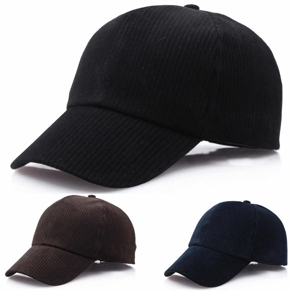 ユニセックス野球帽カジュアル無地スポーツ帽子コーデュロイ骨スナップバック調節可能な通気性お父さん女性用帽子男性 # l5