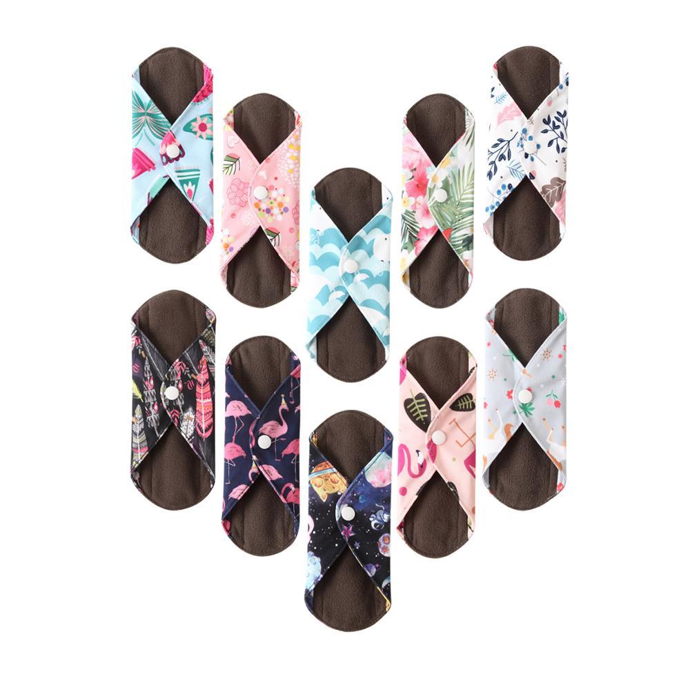 OhBabyKa Menstrual Pads Washable Sanitary Pads Bamboo Cloth Pads Reusable Panty Liners Character Print  Reutilisable Menstruel