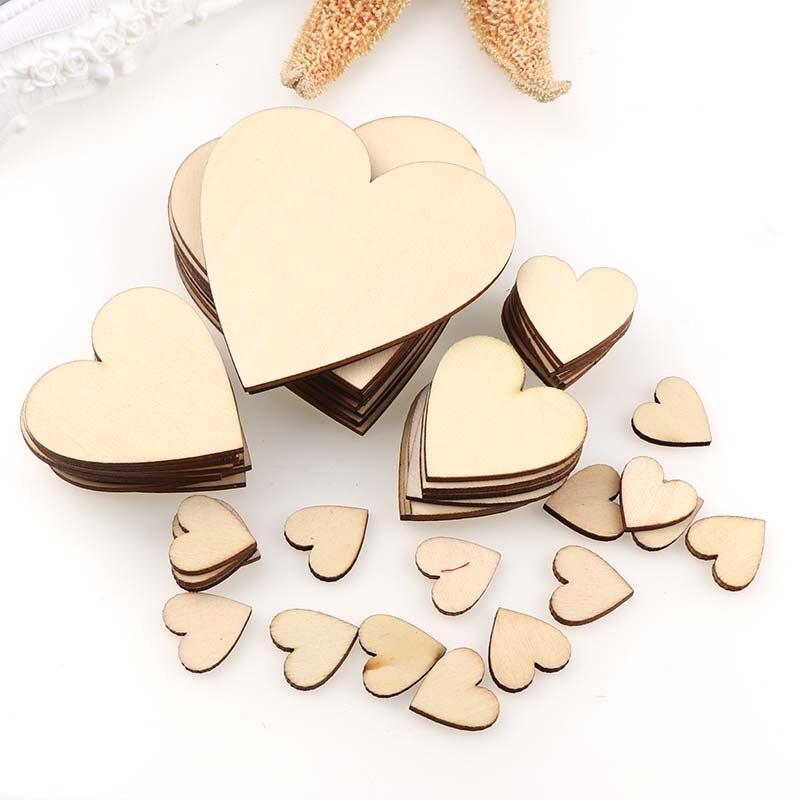 10/25/50/100 pçs diy em branco coração fatias de madeira discos coração amor em branco inacabado artesanato natural suprimentos enfeites de casamento
